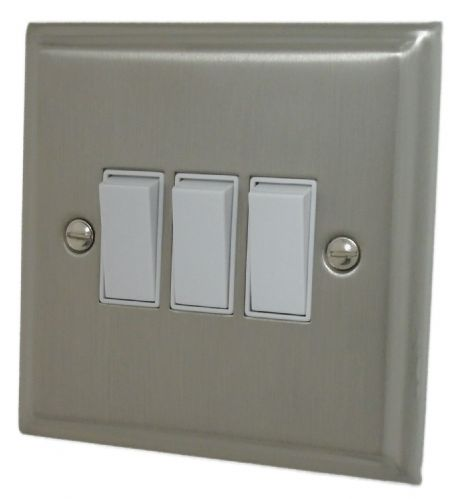 G&H DSN3W Deco Plate Satin Nickel 3 Gang 1 or 2 Way Rocker Light Switch